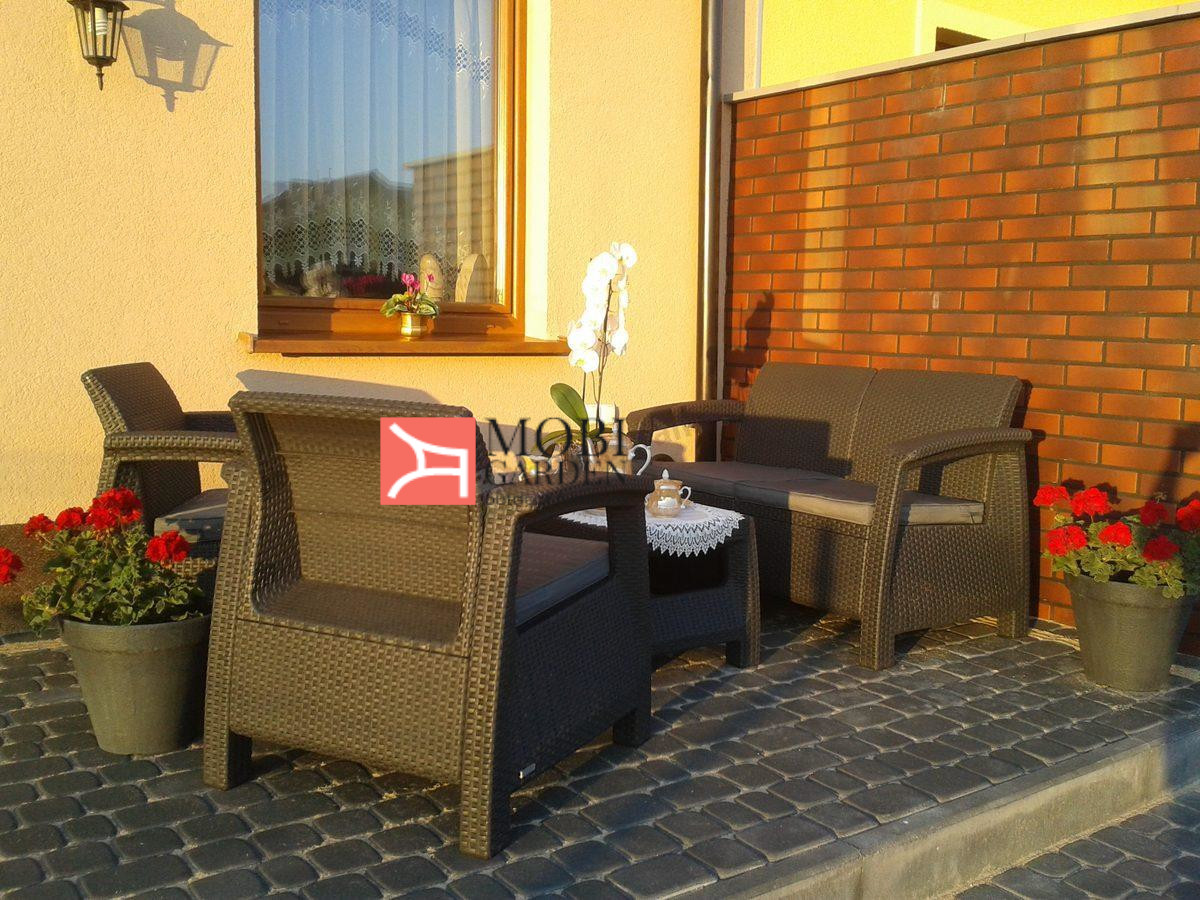 Set mobilier de gradina Corfu - Canapea+doua fotolii+masuta cafea Grafit/ Gri-rece