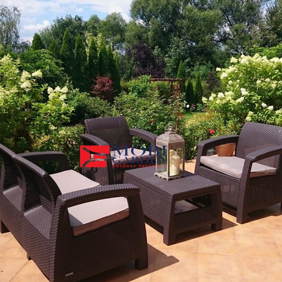 Set mobilier de gradina Corfu - Canapea+doua fotolii+masuta cafea Maro/Gri-Taupe