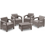 Set mobilier de gradina Corfu Quattro Cappuccino/ Gri-rece