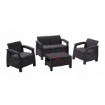 RESIGILAT Set mobilier de gradina Corfu - Canapea+doua fotolii Grafit/ Gri-rece