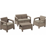 RESIGILAT Set mobilier de gradina Corfu - Canapea+doua fotolii+masuta cafea Capuccino/ Gri-nisipiu