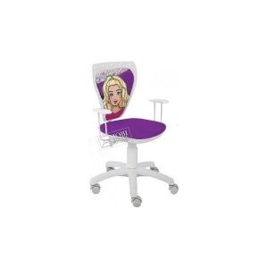 Scaun birou copil Ministyle barbie alb cu mov