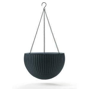 Ghiveci suspendat din rattan - Hanging Sphere Antracit
