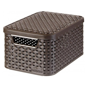Cutie depozitare cu manere si capac 7L (S), design rattan maro