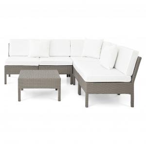 Set mobilier gradina/terasa 6 piese SAN MARINO Gri/ Alb