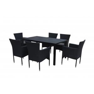 Set mobilier exterior ENCORE 7 piese negru/gri
