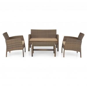 Set mobilier gradina BARCA - capanapea + doua fotolii + o masuta de cafea  Natur/ Bej