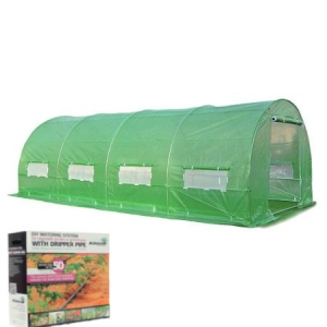 Solar legume verde pentru gradina cu schelet metalic (18mp) + sistem de irigare prin picurare