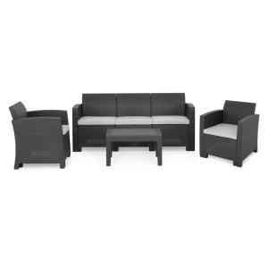 Set 2 fotolii, canapea si masuta PONTE negru/gri