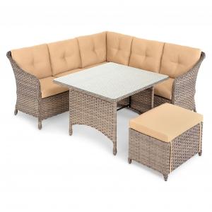 Set mobilier cu coltar 4 piese SAN PAOLO natur/bej