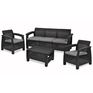 Set mobilier de gradina Keter Corfu Max Grafit/ Gri-rece
