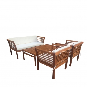 Set mobilier gradina, lemn eucalipt, Fiorentino, 4 piese, maro/alb