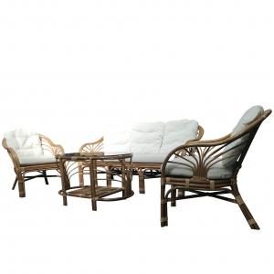 Set mobilier de terasa Debora, ratan natural, maro/alb