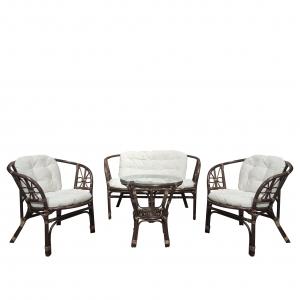Set mobilier de terasa Bali, ratan natural, maro/alb