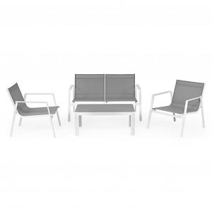 Set mobilier gradina, Celvo, gri-alb