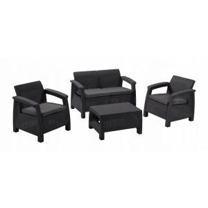 RESIGILAT Set mobilier de gradina Corfu - Canapea+doua fotolii+ masuta de cafea Grafit/ Gri-rece