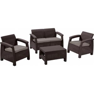 RESIGILAT Set mobilier de gradina Corfu - Canapea+doua fotolii+masuta cafea Maro/Gri-Taupe