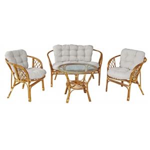 Set mobilier gradina, Bahama, ratan natural, honey/alb