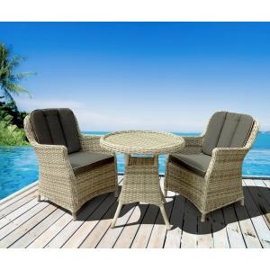 Set mobilier premium de terasa, Juventus, ratan sintetic, gri