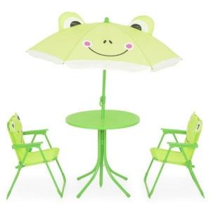 Set mobilier gradina copii, Frog, 2 scaune, masuta si umbrela, verde