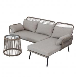 Set mobilier de terasa, Nordic, ratan sintetic, gri