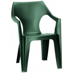 Scaun de plastic pentru terasa,Keter, Dante cu spatar scund, verde inchis