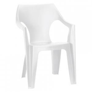 Scaun de plastic pentru terasa,Keter, Dante cu spatar scund, alb