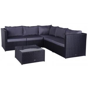Set mobilier gradina Corner Farlito PREMIUM Negru/ Gri rece
