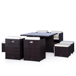 Set mobilier terasa PREMIUM ratan sintetic Cubioso Maro/ Ocru