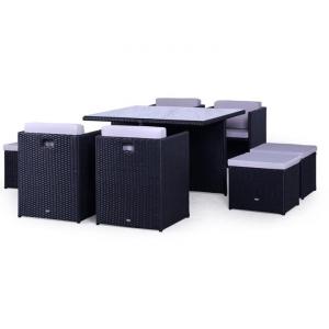 Set mobilier terasa PREMIUM ratan sintetic Cubioso Negru
