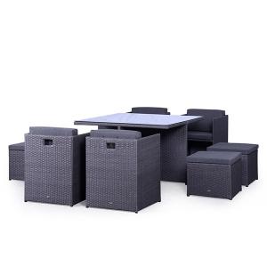 Set mobilier terasa PREMIUM ratan sintetic Cubioso Gri
