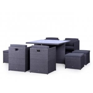 Set mobilier terasa PREMIUM ratan sintetic Cubioso grafit