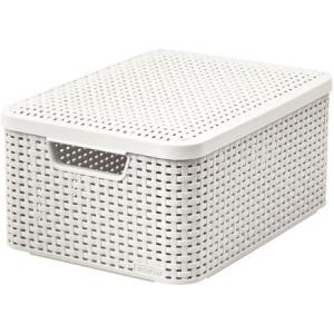Cutie depozitare cu capac 30L (L) Rattan alb