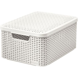Cutie depozitare cu manere 18L (M) rattan alb cu capac