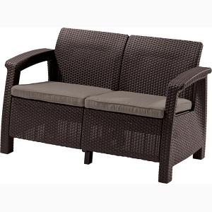 Canapea de gradina CORFU II LOVE SEAT Maro/Gri-Taupe