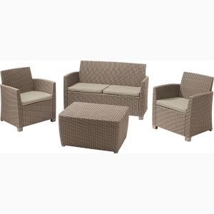 Set mobilier de gradina Corona Cusbox Capuccino/ Gri-nisipiu