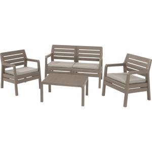 Set mobilier de gradina Delano - imitatie lemn - Capuccino/Gri-nisipiu