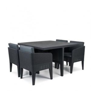 Set mobilier de gradina - Columbia 5 piese Grafit/Gri- rece