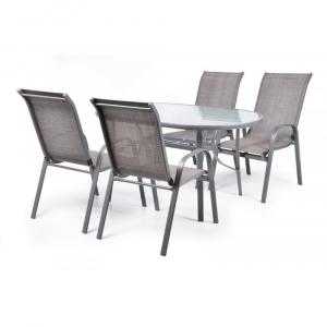 Set mobilier de gradina Ekonomy 4 persoane Gri-Rece