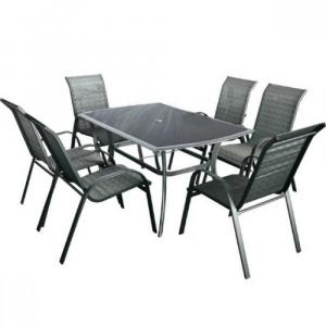 Set mobilier de gradina Honey 6 persoane Negru/ Gri-rece