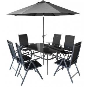 Set mobilier de gradina Shadow 6 persoane Negru/ Gri-rece