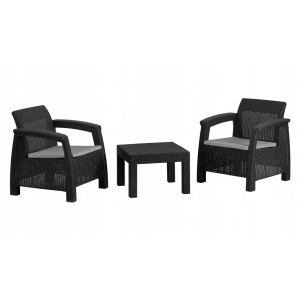 Set mobilier de gradina Panay 2 persoane Negru/Gri- rece
