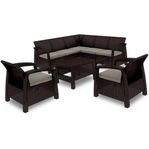 Set mobilier de gradina Curver Corfu Relax Duo Maro inchis/ Taupe