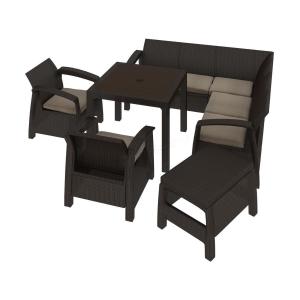 Set mobilier de gradina Curver Corfu Relax Quartet Maro inchis/ Taupe