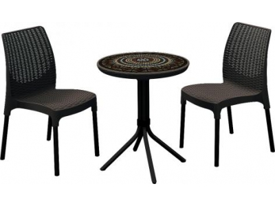 Set mic mobilier de terasa cu masuta mozaic - Chelsea Maro Whiskey