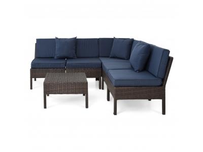 Set mobilier gradina/terasa 6 piese SAN MARINO maro/albastru