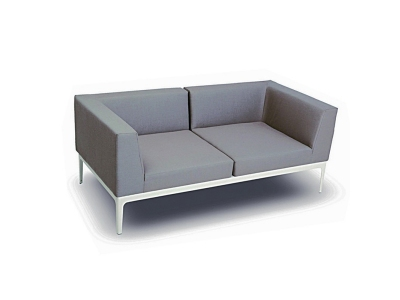 Canapea de terasa Nikolai Gri-rece/ Alb