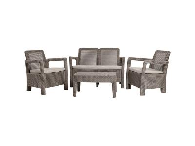 Set mobilier de gradina TARIFA LOUNGE - canapea+masuta+doua scaune Cappuccinno/ Gri- nisipiu