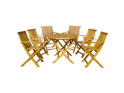 Set mobilier de gradina Basic 6 persoane Galben-rosiatic