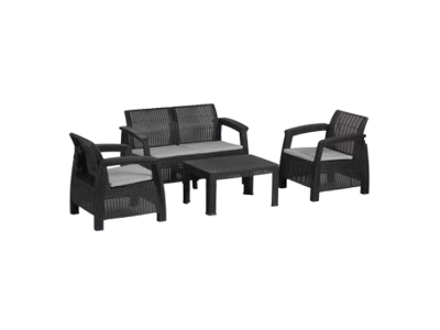 Set mobilier de gradina Panay Maxi 4 persoane Negru/Gri- rece